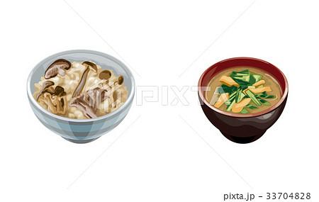 きのこご飯とホウレンソウ味噌汁 33704828