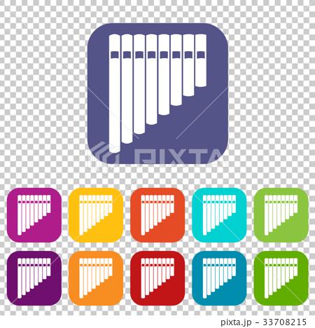 Pan flute icons set 33708215
