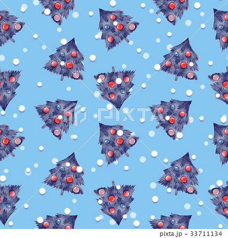 Fir tree and balls. Christmas seamless patternのイラスト素材 [33711134] - PIXTA