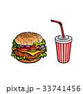 ハンバーガー バーガー スケッチのイラスト 33741456