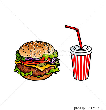 Vector burger, soft drink cup sketch set isolated 33741456