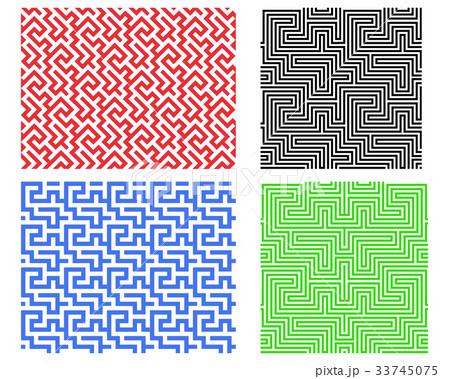 Seamless line pattern in Chinese style, vectorのイラスト素材 [33745075] - PIXTA