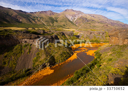 view of agrio river near salto del agrio waterfallの写真素材