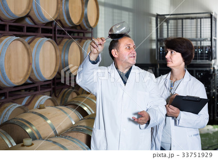 Worker of winery holds glass of red wine in hand and shows him to expert 33751929