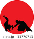 Silhouette of Aikido masters, leading the fight 33770713