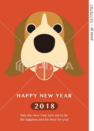2018年賀状テンプレート_ビーグル_HNY_英語添え書き_ver.Red