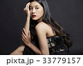 An Asian woman is sitting and looking at something on black background 33779157
