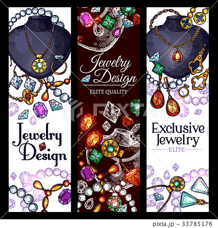 Vector banners of jewelry fashion accessories 33785176