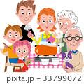 鍋 家族 三世代家族のイラスト 33799072