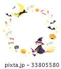 ハロウィン 魔女 フレーム 白背景 33805580
