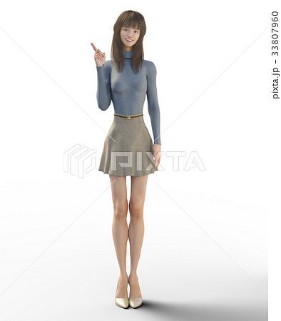 ポーズする綺麗な脚の女性 perming3DCGイラスト素材 33807960