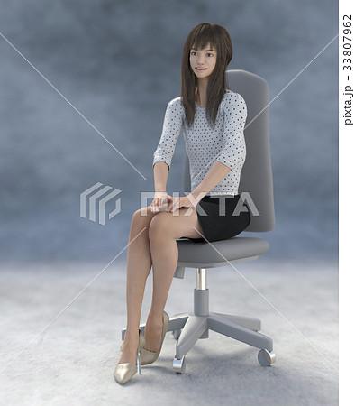 ポーズする綺麗な脚の女性 perming3DCGイラスト素材 33807962