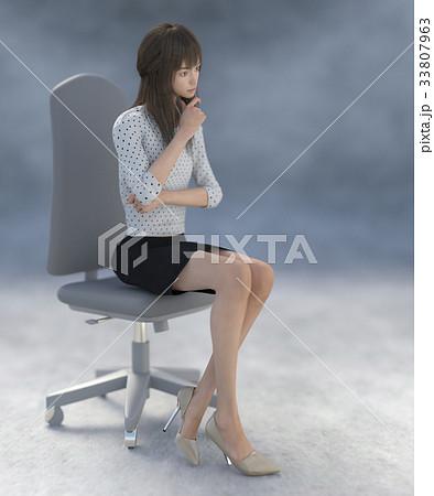 ポーズする綺麗な脚の女性 perming3DCGイラスト素材 33807963