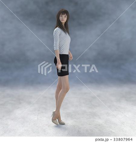 ポーズする綺麗な脚の女性 perming3DCGイラスト素材 33807964