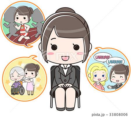 面接で自己PRをする女性(黒い椅子) 33808006