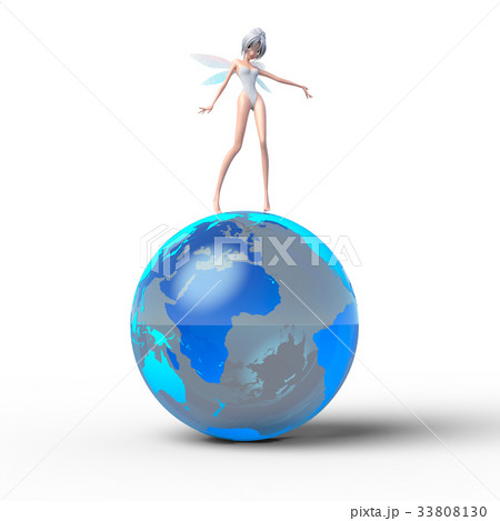 地球と妖精 perming3DCGイラスト素材 33808130