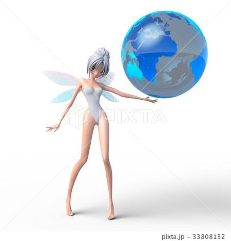 地球と妖精 perming3DCGイラスト素材 33808132