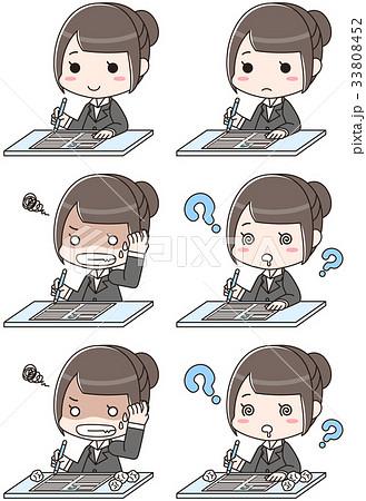 履歴書を書く女性(セット) 33808452