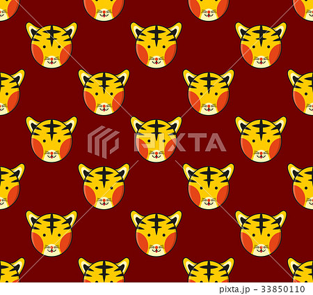 Tiger Seamless on Dark Red Background. Vector のイラスト素材 [33850110] - PIXTA