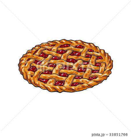 Hand drawn cherry pie, thanksgiving symbol, food 33851766