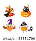 Cat, kitten owl and raccoon in Halloween costumes 33851790