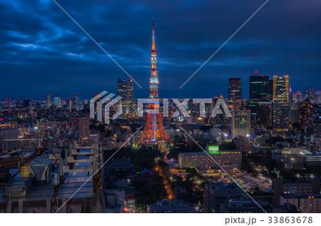 【東京夜景】東京タワー 世界貿易センタービル シーサイドトップ 33863678