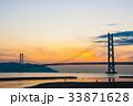 夕景 橋 明石海峡大橋の写真 33871628
