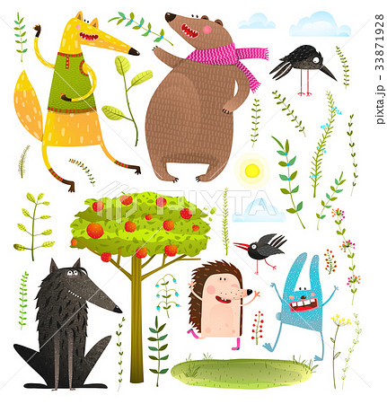 Wild Funny Forest Objects and Animals Set 33871928