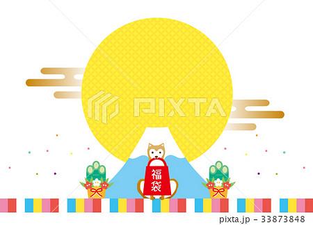 戌年素材-初売り(文字なし) 33873848