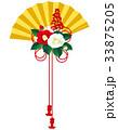椿 扇子 年賀状素材のイラスト 33875205