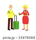 Senior couple tourists traveling with suitcase 33876068