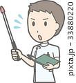 白衣を着た男性看護師が指示棒を持って焦っているイラスト 33880220