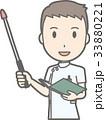 白衣を着た男性看護師が指示棒を持って笑っているイラスト 33880221