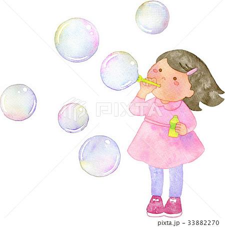 シャボン玉を吹く女の子のイラスト素材 33882270 Pixta
