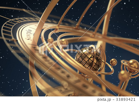 Armillary Sphere On Blue Background 33893421