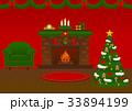 クリスマス部屋(赤い壁のリビングルーム) 33894199