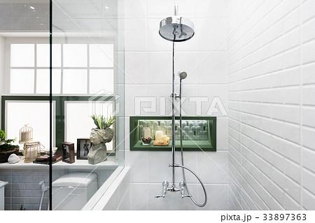 Interior of modern shower head in bathroom at homeの写真素材 [33897363] - PIXTA
