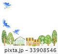 青い鳥と町並み フレーム 33908546