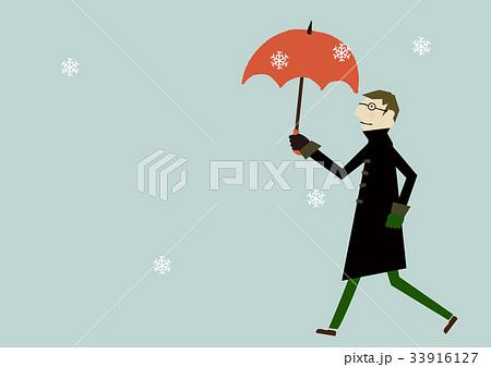 コートを着た男性 冬のイメージ 33916127