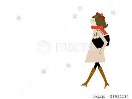 コートを着た女性 冬のイメージ 33916154