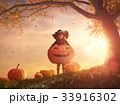 witch with a big pumpkin 33916302