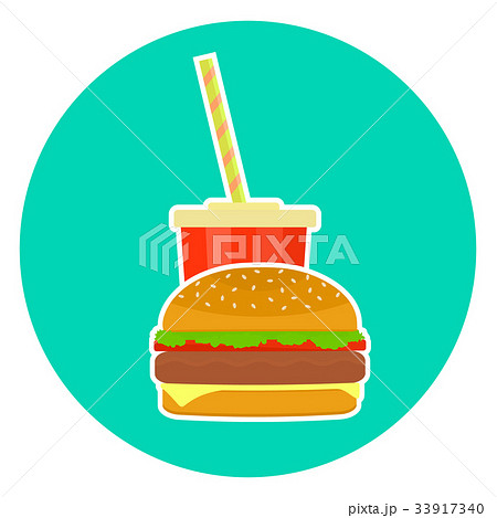 Flat colorful vector lovely couple cola and burger 33917340