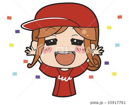 赤いユニフォームを着た女の子のイラスト 33917761