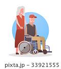 Senior Man On Wheel Chair And Woman Couple 33921555