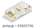 住宅の鳥瞰図 間仕切り 33925736