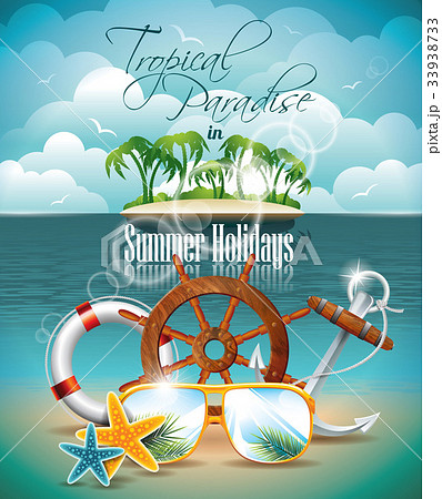 vector summer holiday flyer design with palm treesのイラスト素材