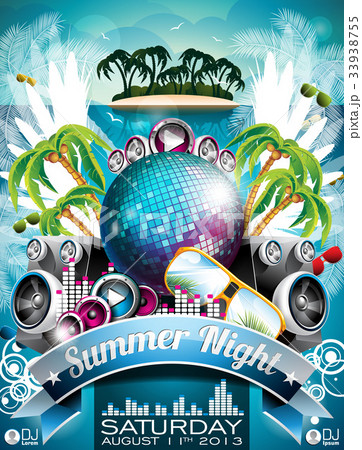 vector summer beach party flyer designのイラスト素材 33938755 pixta