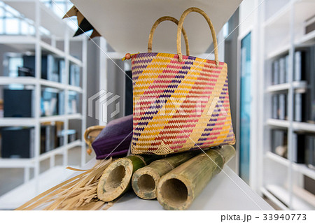 Bag made of bamboo  Natural Crafの写真素材 [33940773] - PIXTA