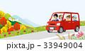 秋 紅葉 車のイラスト 33949004