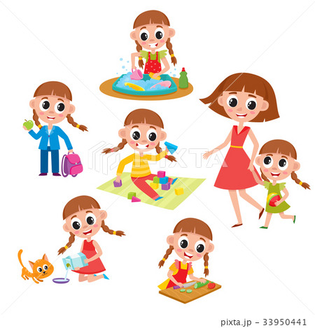 Set of little prescooler girl daily routines 33950441